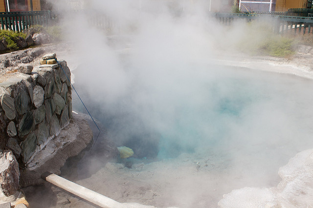 Corn left in this natural hot spring (see the line and the net at the end?) is done after about 15 minutes.